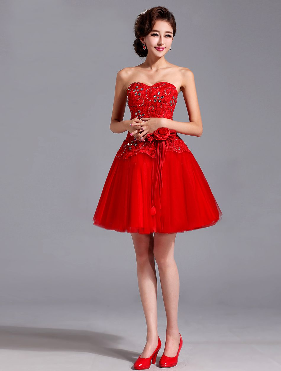 Awesome short red bridesmaid dresses red bridesmaid dress red wedding dresses short red lace wedding dress flower accessory 28 best free home design idea inspiration ombrellifo Gallery