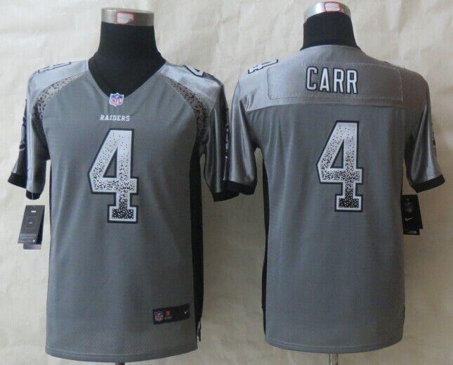 0c4d4ae60 Youth Okaland Raiders 4 Carr Drift Fashion Grey 2014 New Nike Elite Jerseys