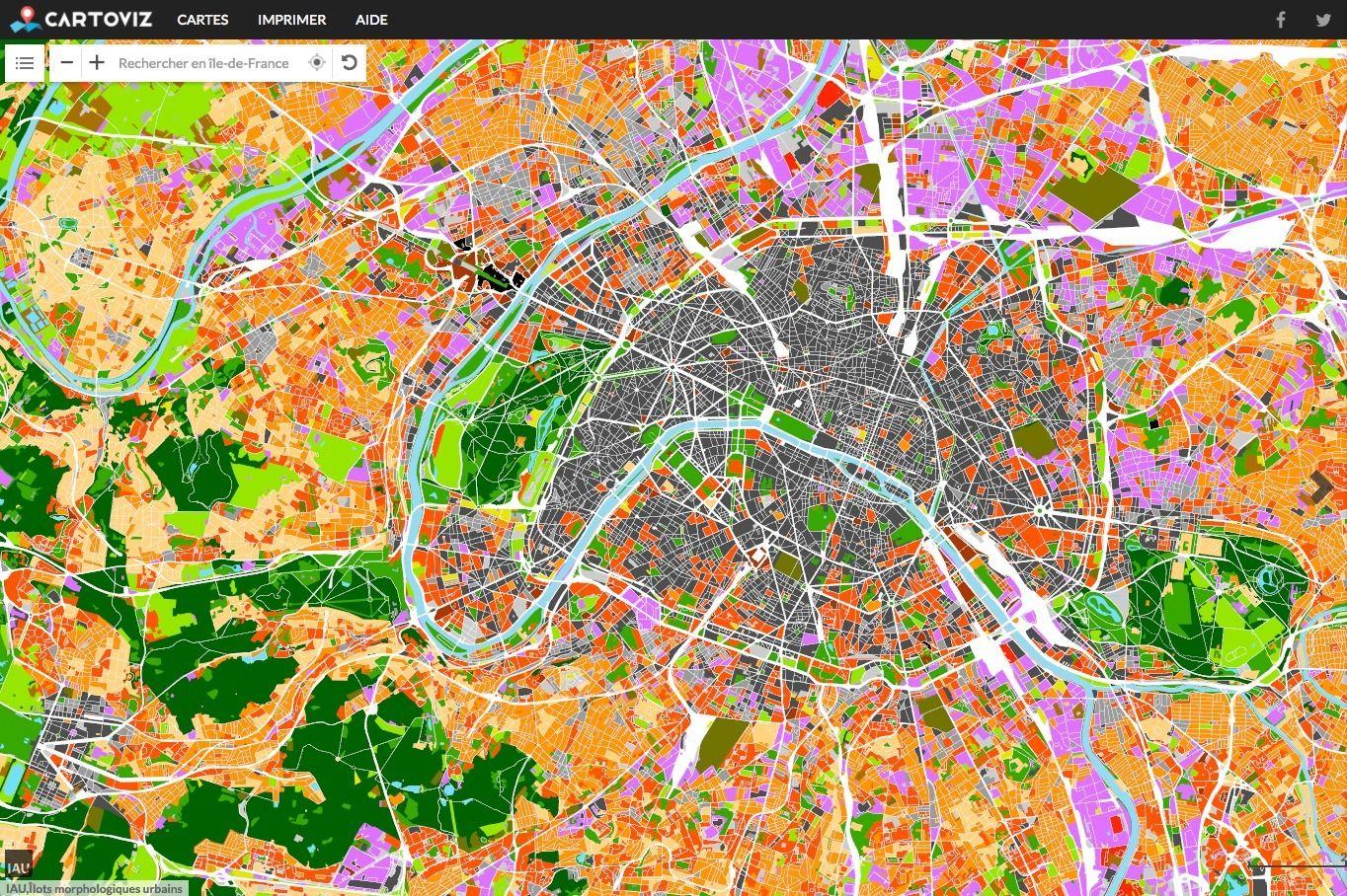 Carte des îlots de chaleur urbain en Ile de France