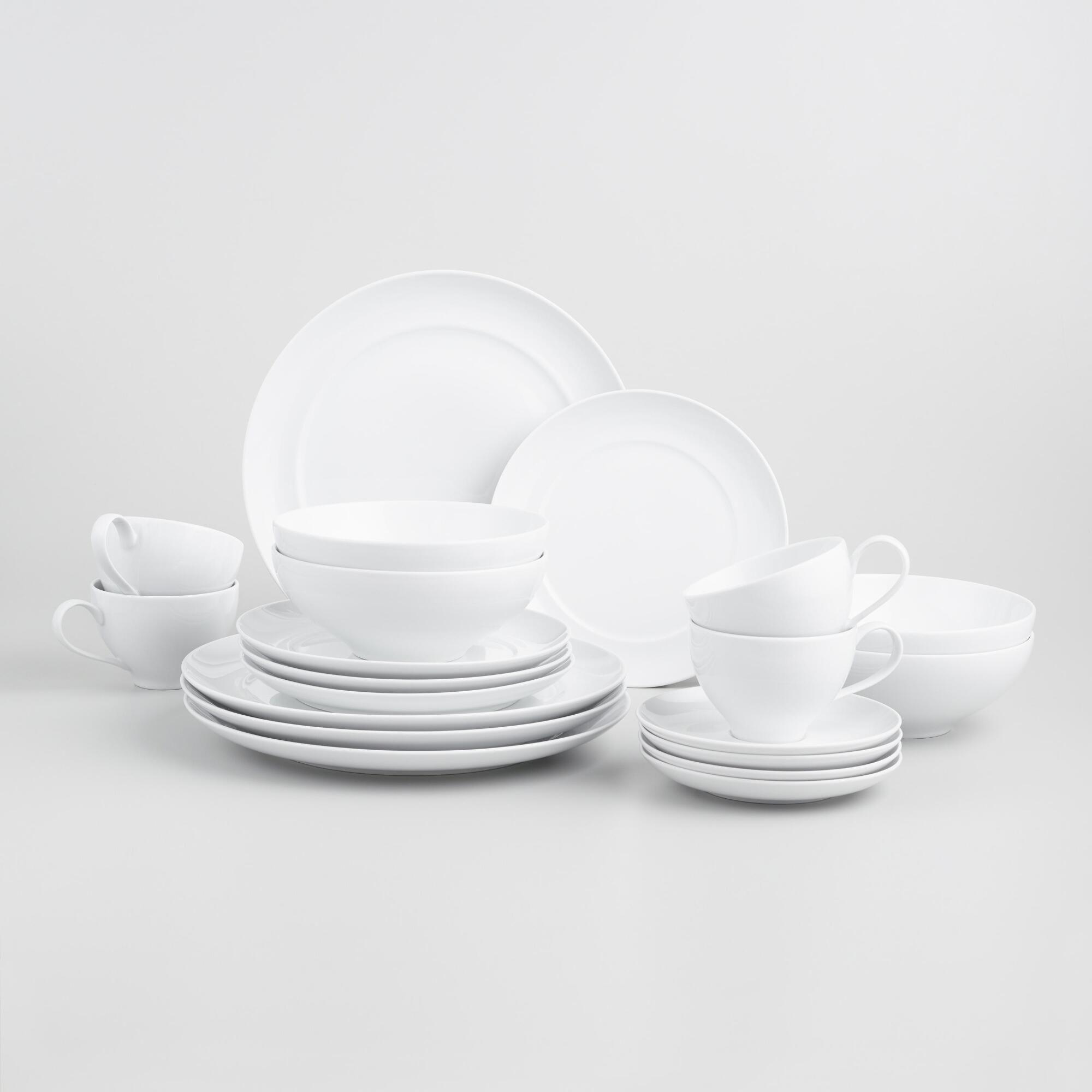 White Spin Dinnerware 16 Piece Set By World Market In 2020 Dinnerware Dinnerware Sets Affordable Home Decor