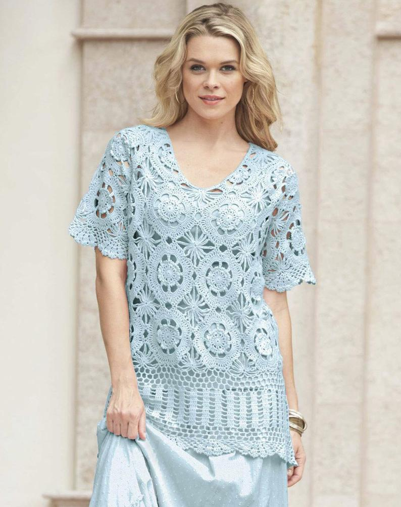 Elegant crochet tunic PATTERN, big size crochet tunic pattern, crochet tunic pattern, detailed instructions in English, crochet tunic charts