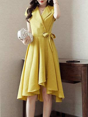 Fold Over Collar Asymmetric Hem Plain Skater Dress #area51partyoutfit