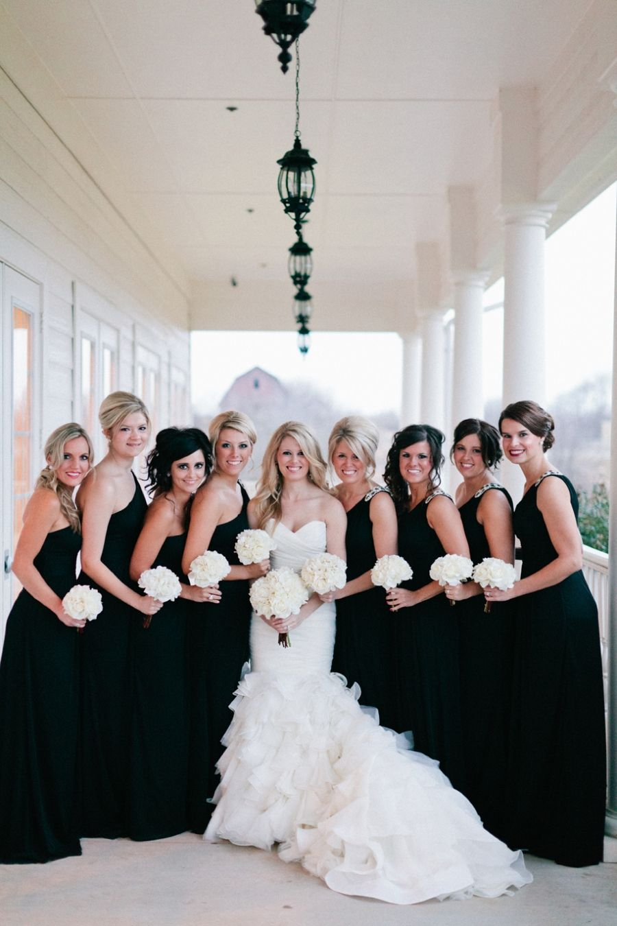 Black bridesmaids dresses dan and basmas wedding pinterest i love the black bridesmaid dresses and white wedding dress ill either have silver red or both incorporated in somehow red bouquet for the bride and ombrellifo Gallery