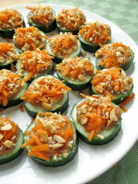 Thai Peanut Cucumber Cups Vegetarian Snack Recipes