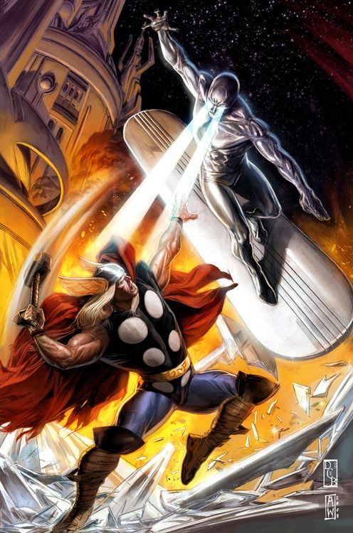 Silver Surfer vs Thor by Doug Braithwaite
