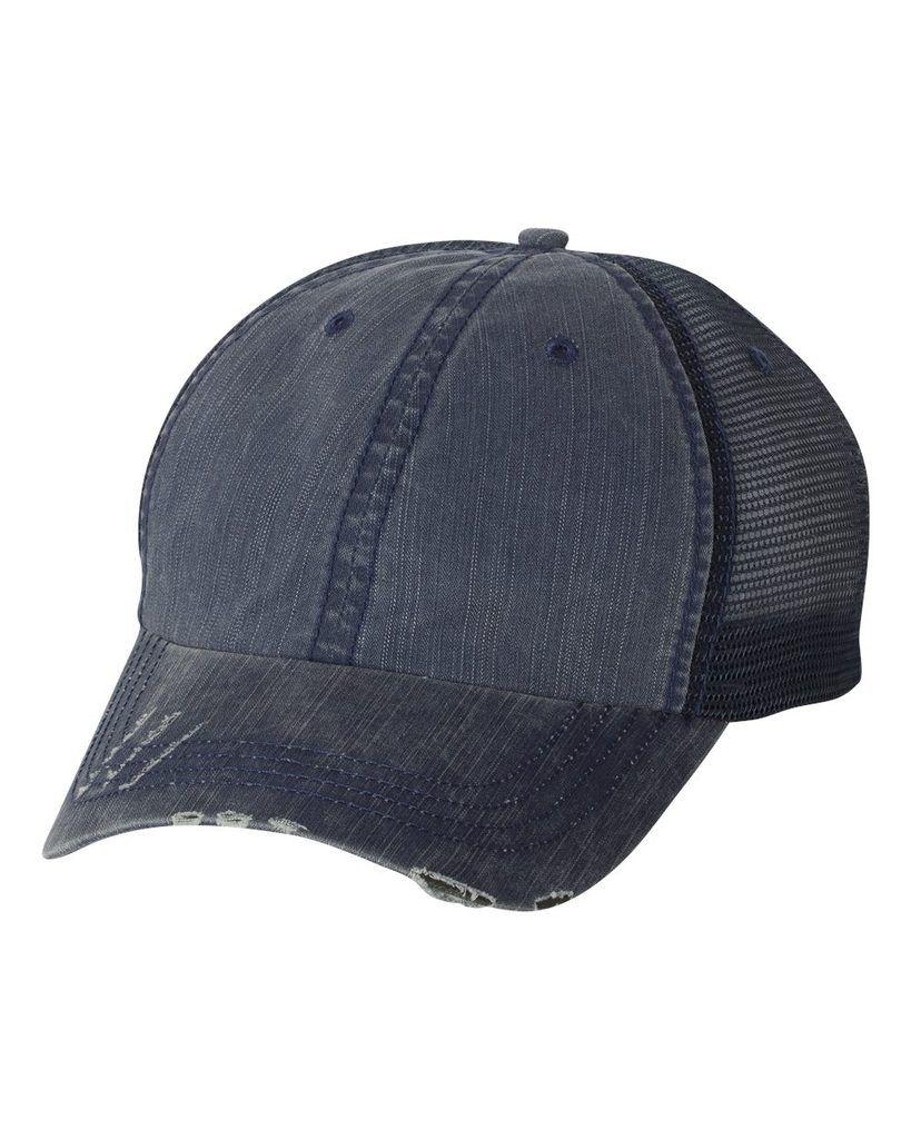 f571e32d43f Navy Herringbone Unstructured Trucker Hat