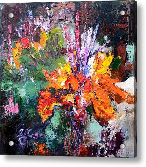 Impressionist Canna Flower Oil Painting Acrylic Print By Ginette Callaway Oil Painting Flowers Floral Oil Paintings Canna Flower