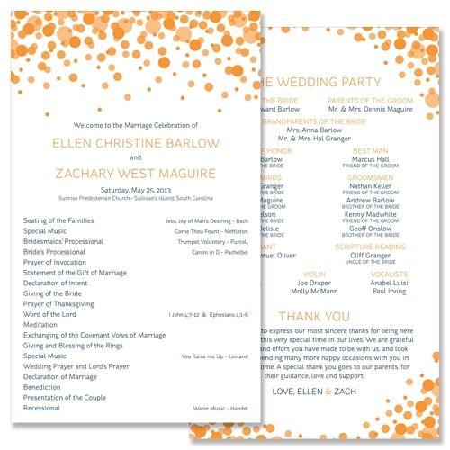 Confetti Program - Unique Wedding Program by The Green Kangaroo ...