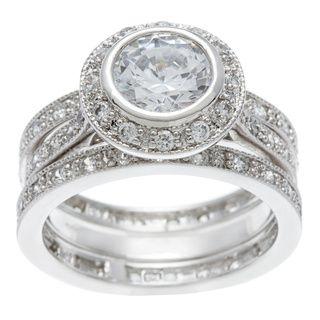 icz stonez sterling silver cubic zirconia 3 15ct tgw bridal ring set size 12 adult unisex white