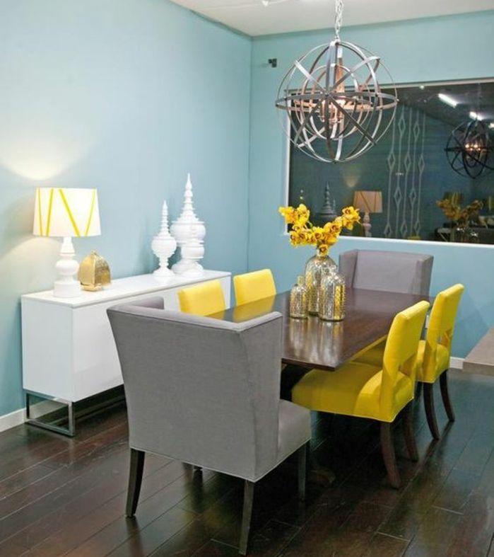 1001 id es cr er une d co en bleu et jaune conviviale Salle a manger blanc et gris