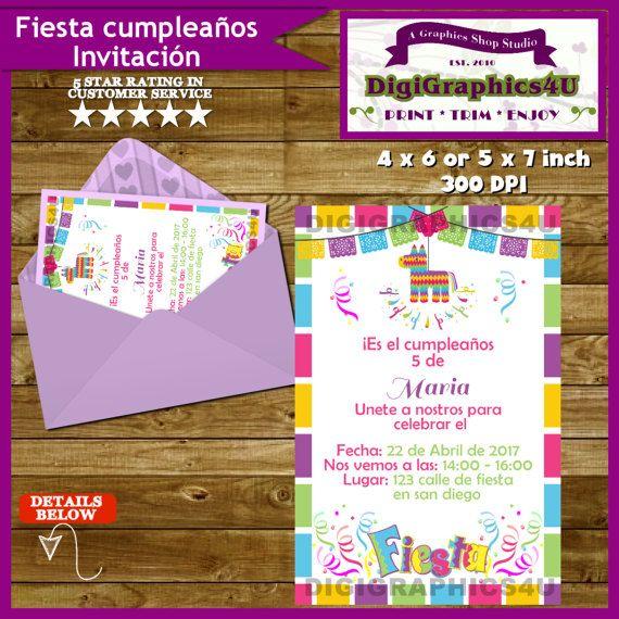 Fiesta cumpleanos Invitacion Personalized by DigiGraphics4u #fiesta #festiva #cumpleanos #invitacion @etsy