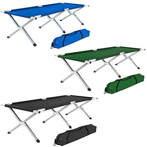 TecTake XL heavy duty super light folding camp camping guest bed aluminium frame 150kg  bag - different colours and different quantities -