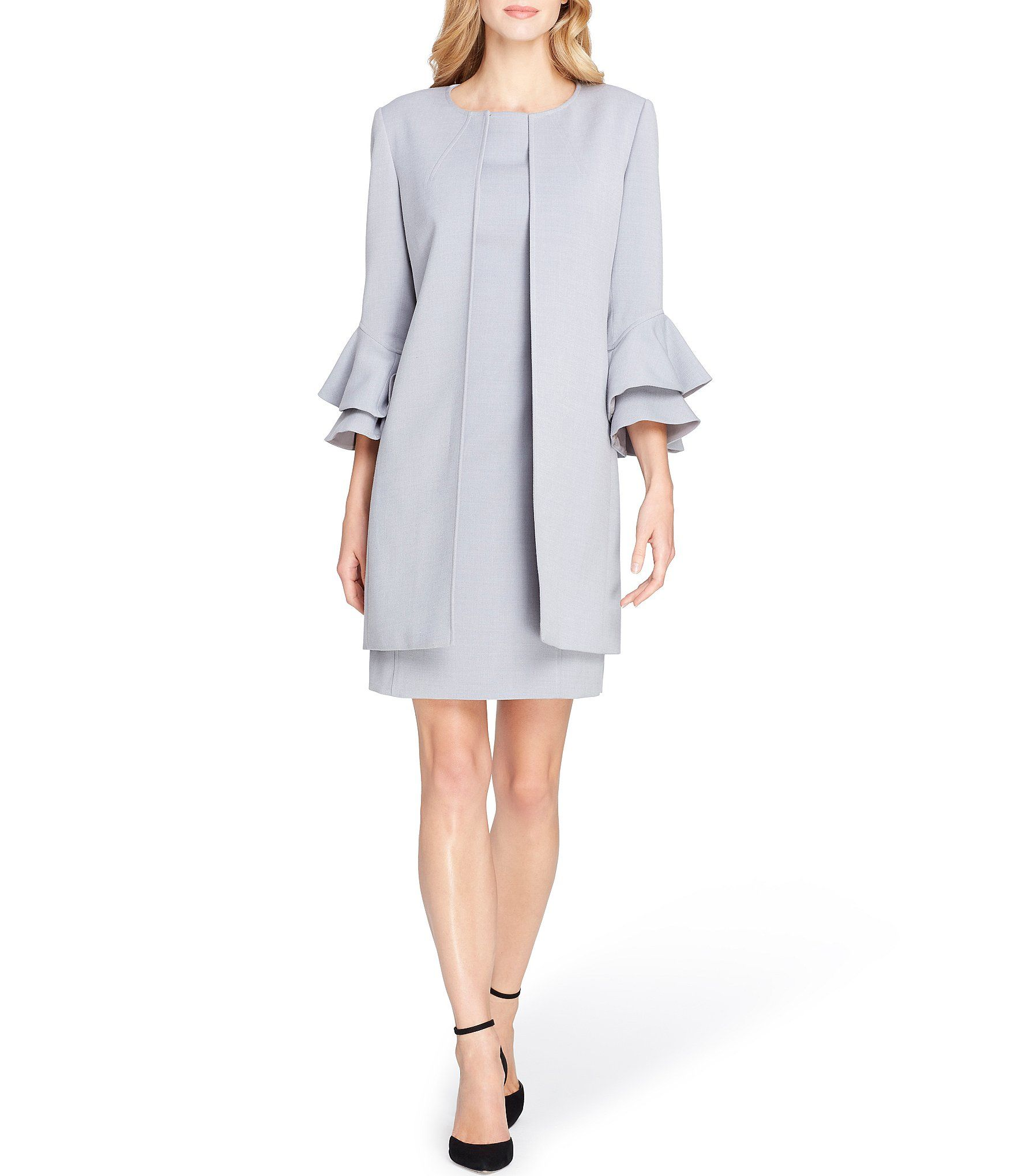 Tahari Asl Bellsleeve Ponte 2piece Dress Suit Dillards Dresses