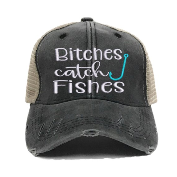 622abd63c Bitches Catch Fishes Custom Trucker Hats Distressed For Women Funny ...