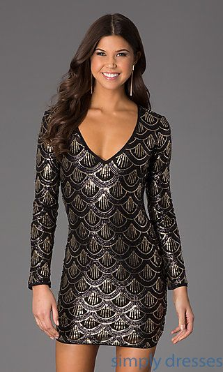 737a6dd625 Short Sequin V-Neck Long Sleeve Dress by SimplyDresses.com  simplydresses   simply