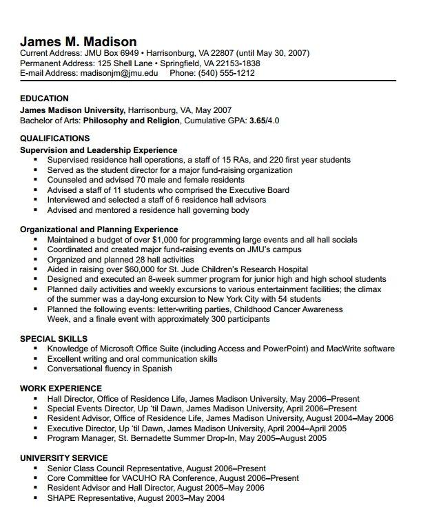 james madison university choosing a resume format in 2020