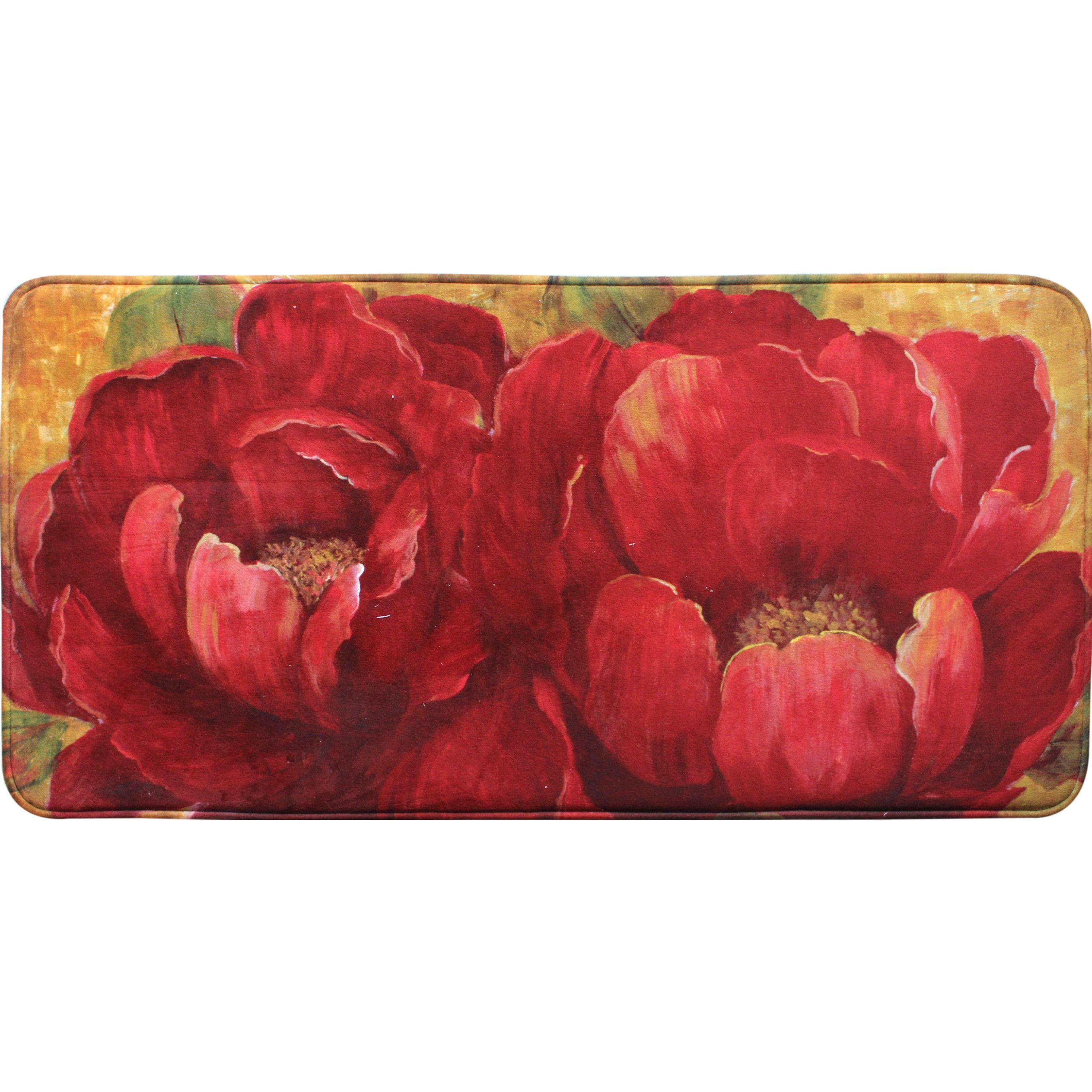 Red Barrel Studio Colfax Poppies Kitchen Mat