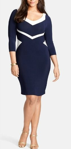 Navy color block dress slims. Find out how at Fabulous After 40.