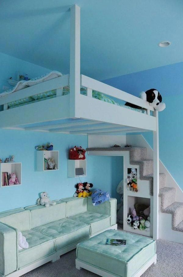 30+ Cool Loft Beds for Small Rooms Blue Hanging Loft Bed For Kids bunkbedsforkidsideas bunkbeds BedroomForKidsModern paraniñaspequeñas is part of Teenage girl bedrooms -