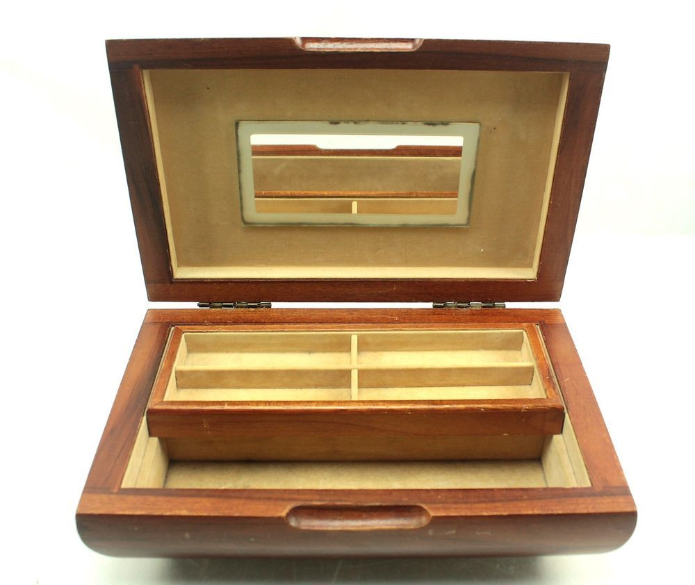 Vintage Teak Wood Storage Jewelry Box Mirror Sliding Tray Lined