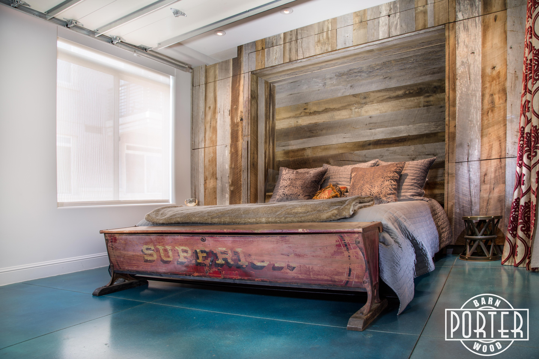 Mixed Tobacco Barn Grey/Brown Wood Wall + Murphy Bed's