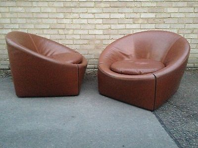 Magnificent X2 Pair Cognac B B Leather Minotti Italia Capri Ligne Andrewgaddart Wooden Chair Designs For Living Room Andrewgaddartcom