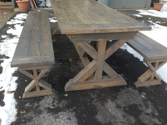 X Base Farmhouse Table And Benches Do It Yourself Home
