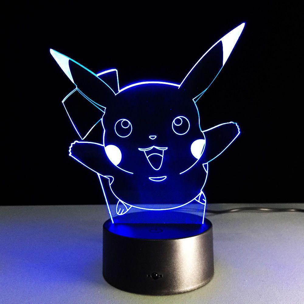 Anime Pokemon Pikachu Pokemon Night Light Decor 3d Acrylic Led Table Desk Lamp