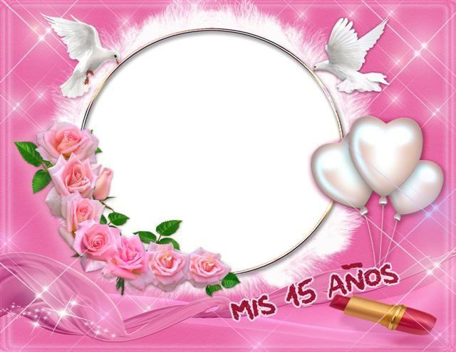 Marcos Para Fotos De 15 Anos: Marco Digital Para Tus Fotos De Fiesta Rosa