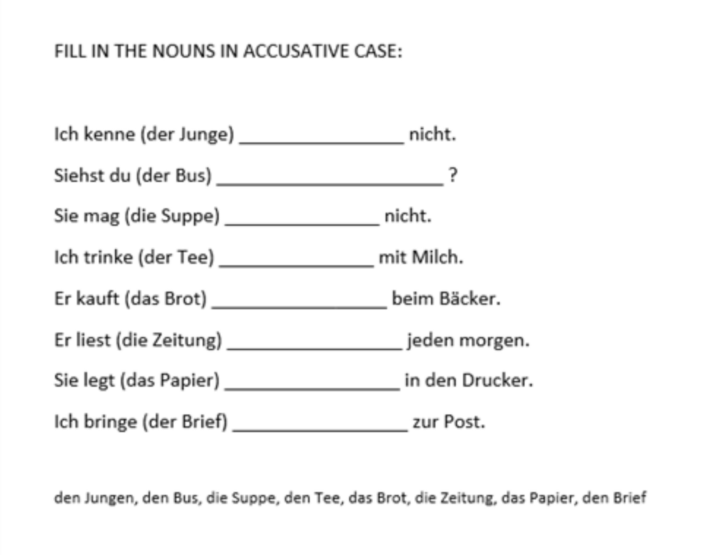 worksheet German Cases Worksheet exercise accusative or dative case www my german course com course
