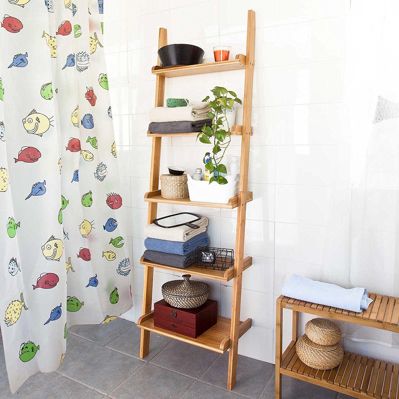 Sobuy ladder shelf storage display tiers wall shelf amazon