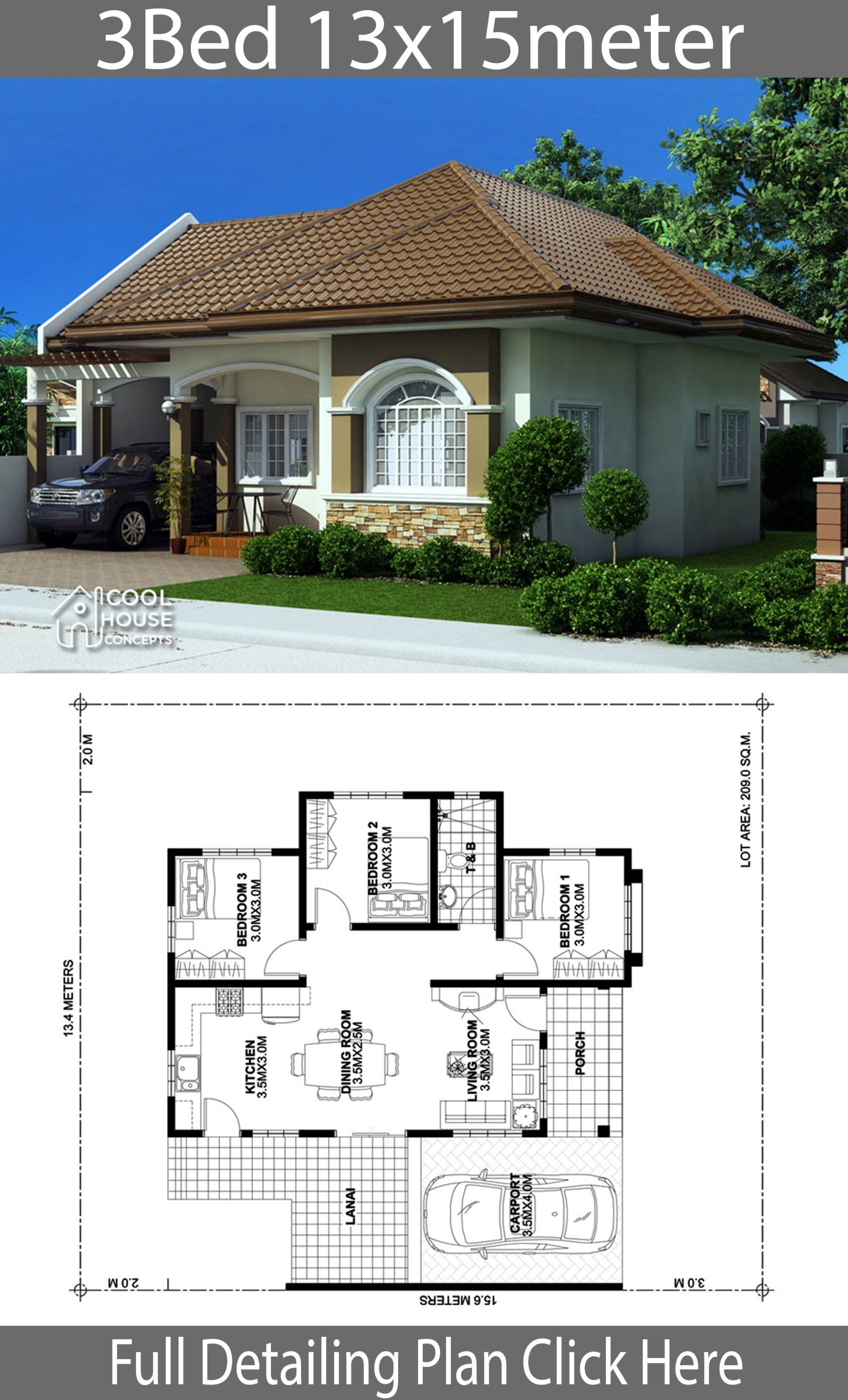 Home Design Plan 13x15m With 3 Bedrooms Modern Bungalow House