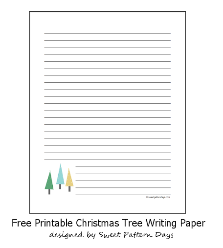 Cute Christmas Tree Lined Writing Paper Writing Paper Lined Writing Paper Free Christmas Printables