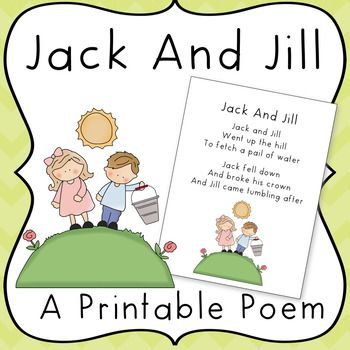 Printable Jack And Jill Poem Poetry For Kids Jack Jill