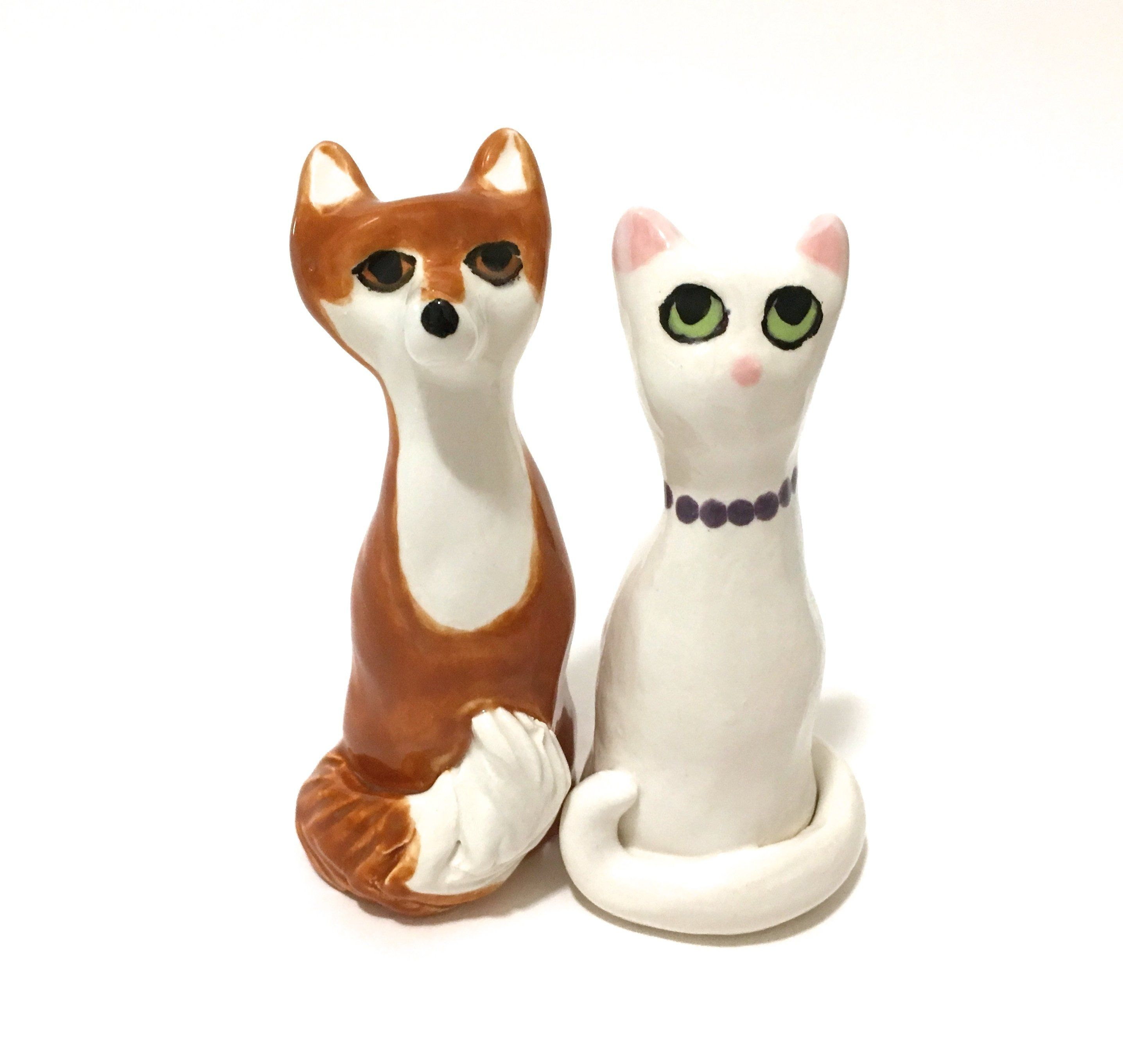 Fox And Cat Cake Toppers, Forever Figurines, Wedding Decor