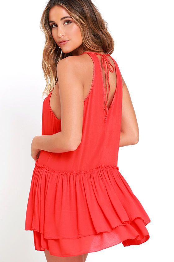 Feel the Beat Coral Red Swing Dress at Lulus.com!