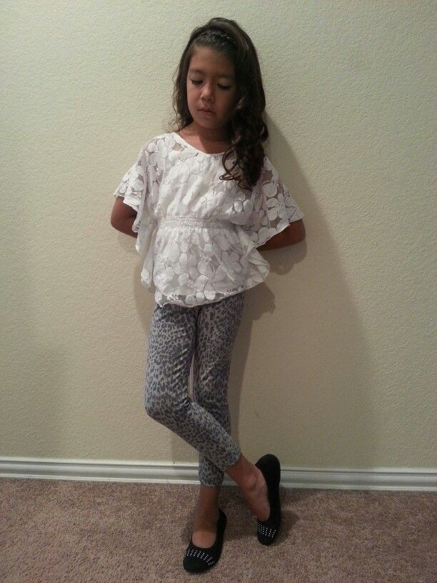 White lace top with gray leopard leggings and black studded flats. Little  girl fashion.