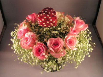 flower arrangement with a place for a ring or jewelry box