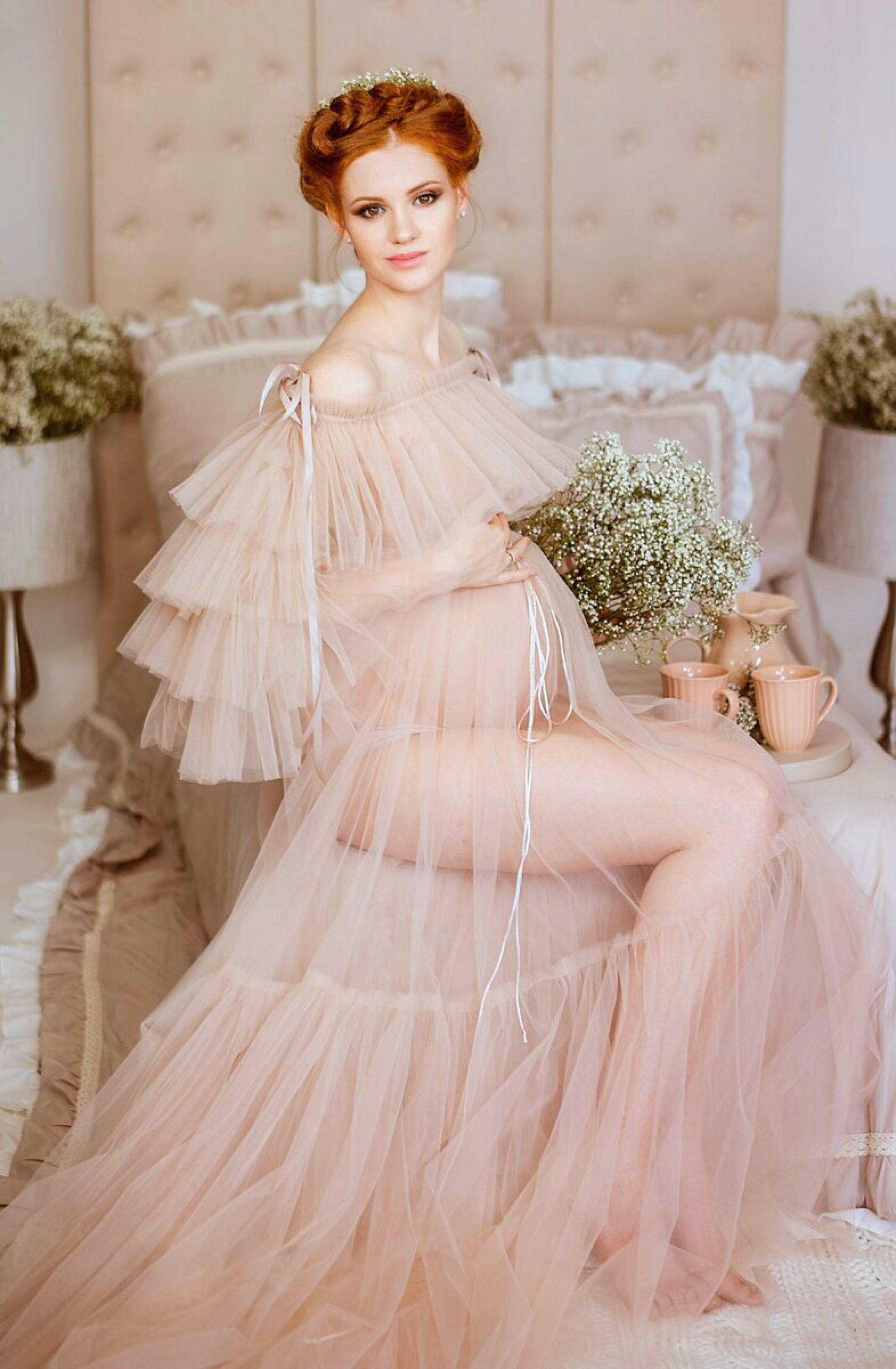 be7243cb876 LEILA GOWN Drop Sleeves Tulle Maternity Gown Dress for Photoshoot Belly  dress Tule Photography Tüllkleid Fotoshooting