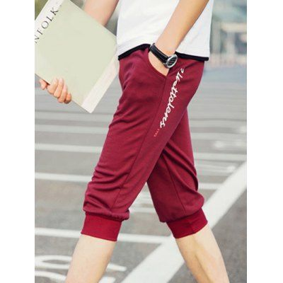Elastic Waist Solid Color Letter Pattern Red Shorts For Men #shoes, #jewelry, #women, #men, #hats, #watches, #belts