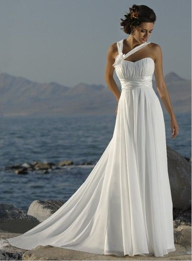 Simple Elegant White Chiffon With Waistband Wedding Dress | Ideas ...