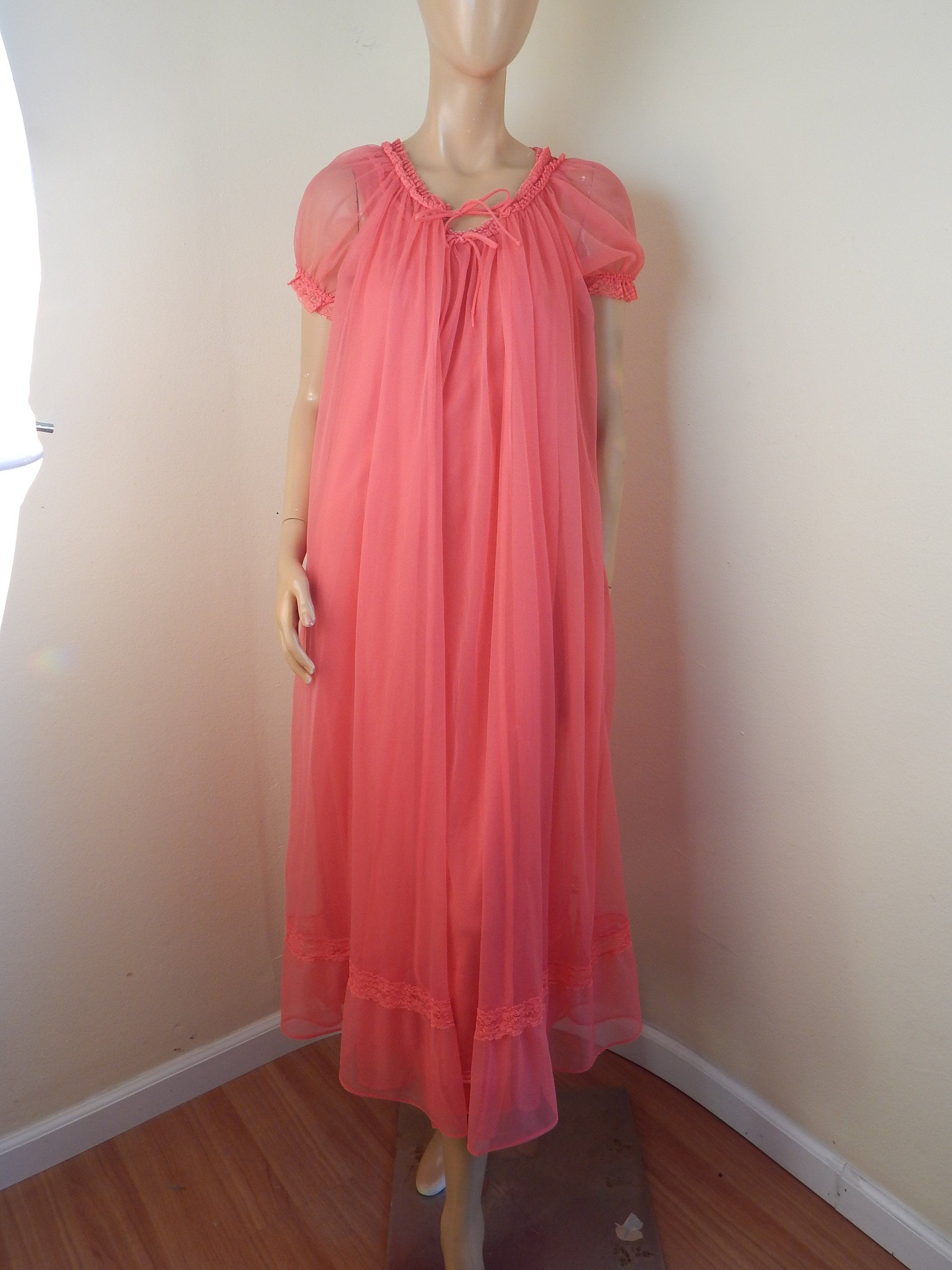 Vintage 50s White Pink Sheer CHIFFON Beaded Nightgown