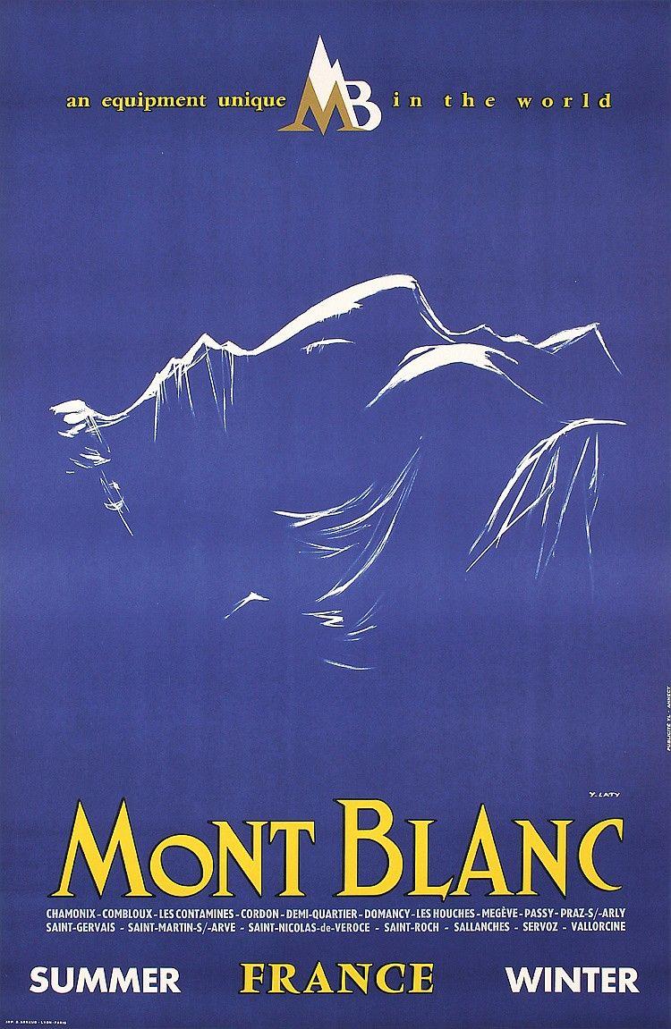 Mont Blanc France French European Travel Art Poster Advertisement Chamonix