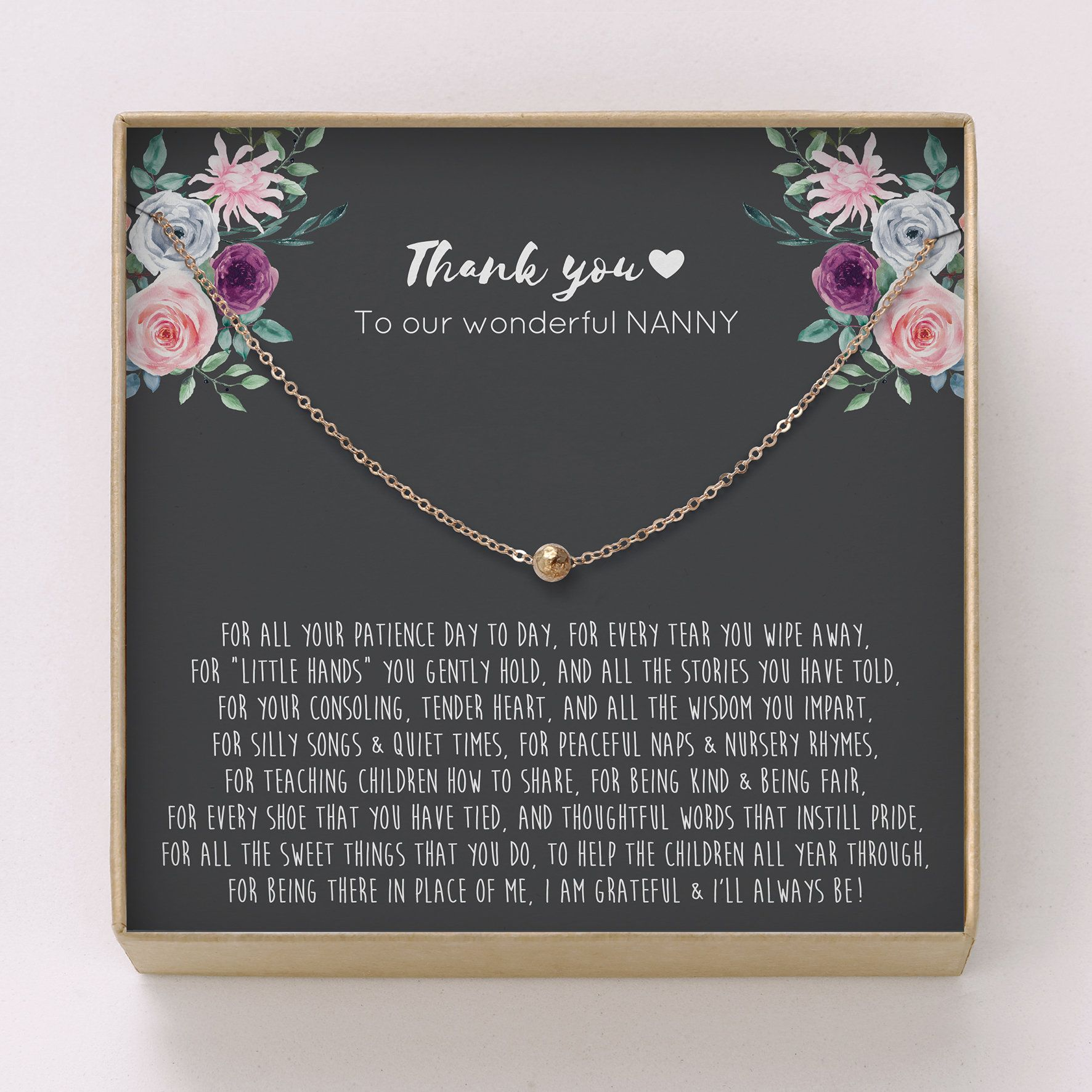 Thank You Gift for Nanny • Dainty Hammered Bead Necklace ...