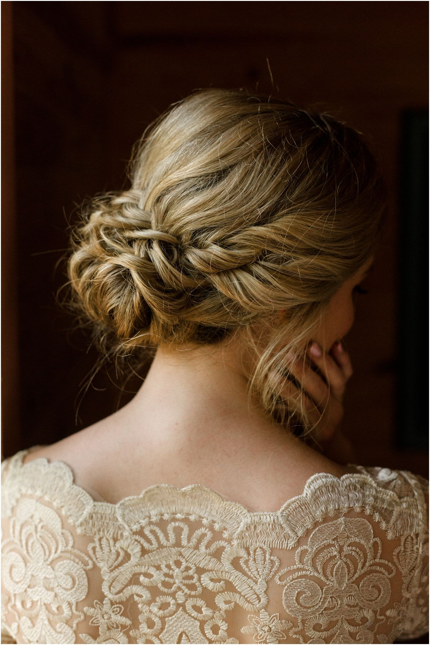 love this wedding hair for blondes! twists with a low curly bun by