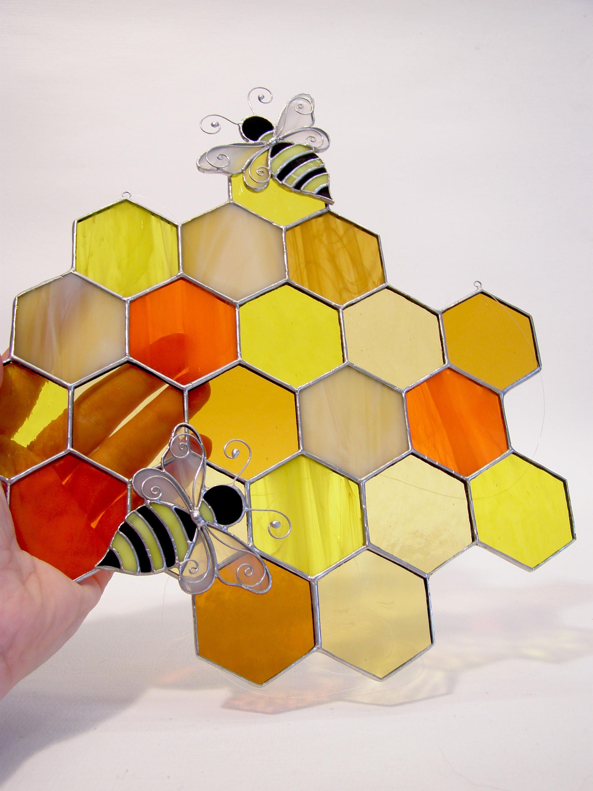 Honeycomb, Stained Glass Panel, Suncatcher, Bumble Bee, Geometric ...