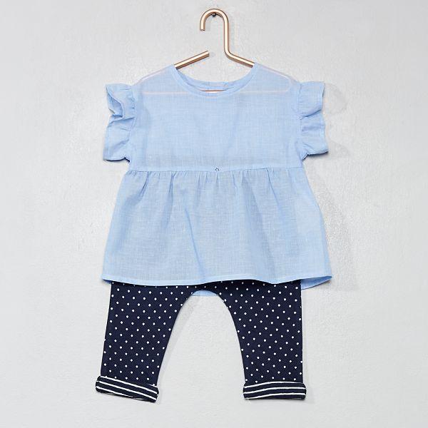 98fa1a6c62652 Ensemble blouse + sarouel pur coton bleu Bébé fille - Kiabi