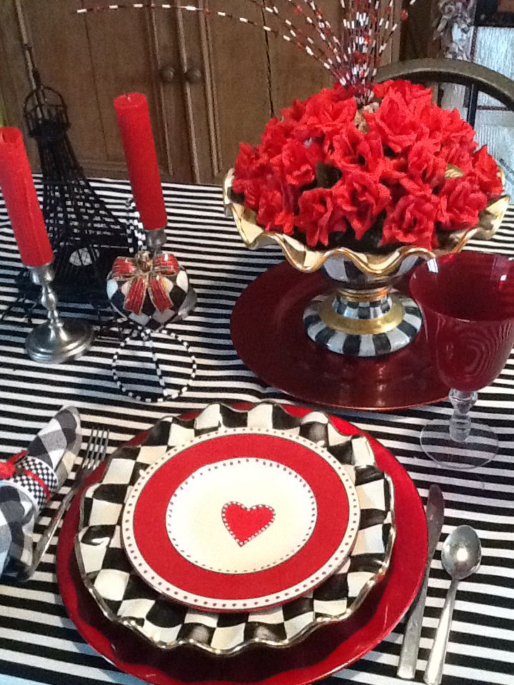 Mackenzie Childs style Valentines Day place setting