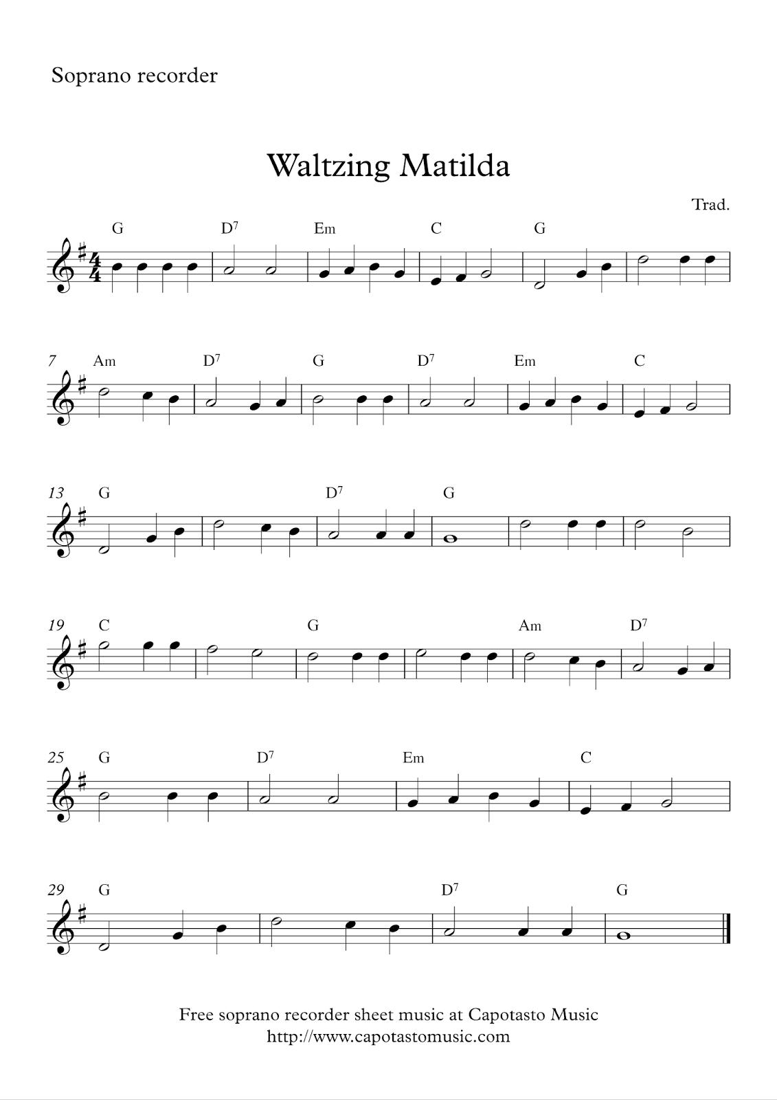 Free Sheet Music Scores Soprano Recorder
