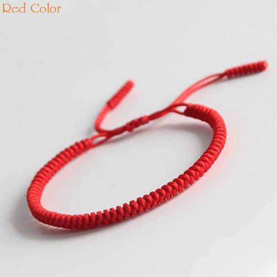aac3a3df6f8c4 Original Multi Color Tibetan Buddhism Handmade Knot Lucky Rope Bracelet Red  Bangle RB001